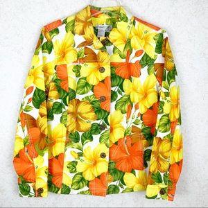 Coldwater Creek Hawaiian hibiscus print jacket